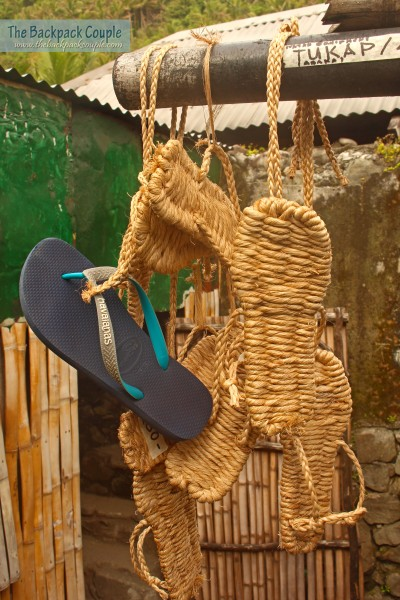 Slippers called 'tukap' made by Chavayan locals. These protect the feet when walking on rocks and sharp corals. We call this the