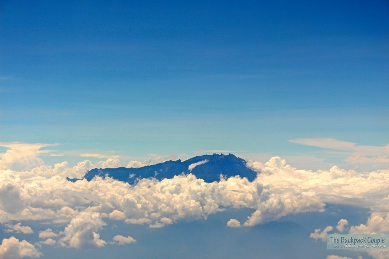 View of the Mt. Kinabalu summit from the plane.