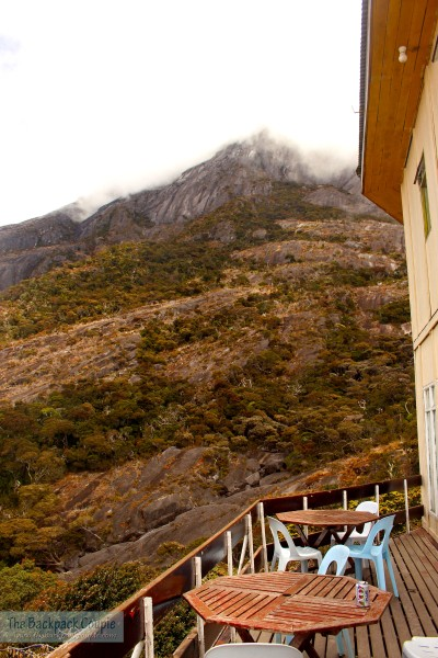 The iconic view from the Laban Rata terrace.